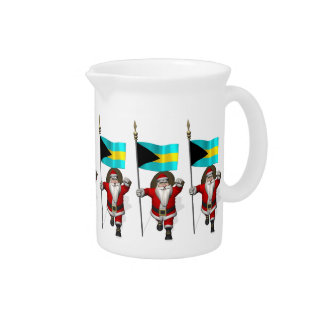 Santa Claus With Ensign Of The Bahamas Drink Pitchers