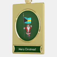 Santa Claus With Ensign Of The Bahamas