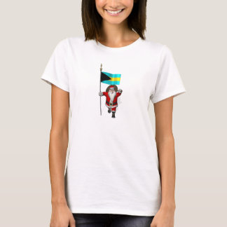 Santa Claus With Ensign Of The Bahamas T-Shirt