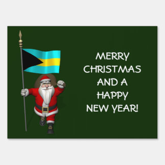 Santa Claus With Ensign Of The Bahamas Yard Sign