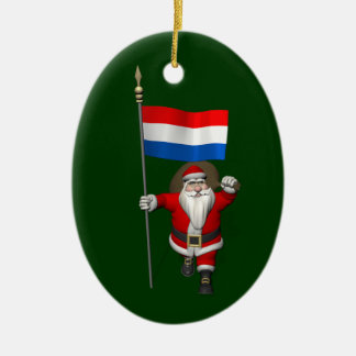 Santa Claus With Ensign Of The Netherlands Ceramic Ornament