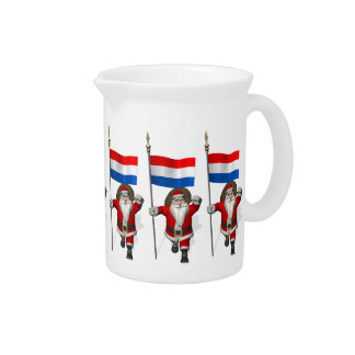Santa Claus With Ensign Of The Netherlands Drink Pitcher