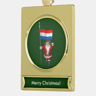 Santa Claus With Ensign Of The Netherlands Gold Plated Banner Ornament