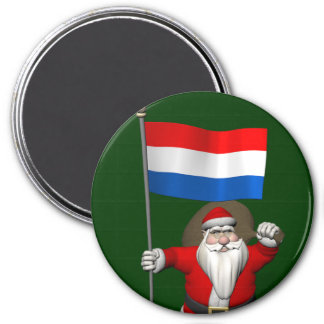 Santa Claus With Ensign Of The Netherlands Magnet
