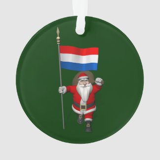 Santa Claus With Ensign Of The Netherlands Ornament