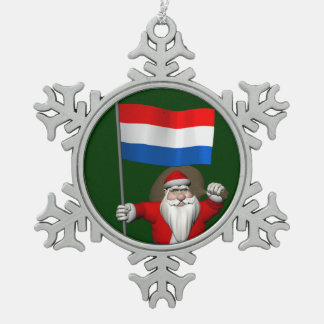 Santa Claus With Ensign Of The Netherlands Snowflake Pewter Christmas Ornament