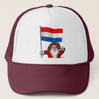 Santa Claus With Ensign Of The Netherlands Trucker Hat