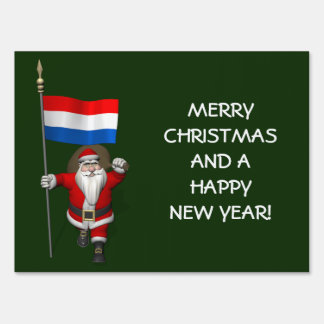 Santa Claus With Ensign Of The Netherlands Yard Sign