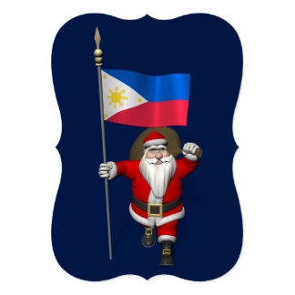 Santa Claus With Ensign Of The Philippines Card