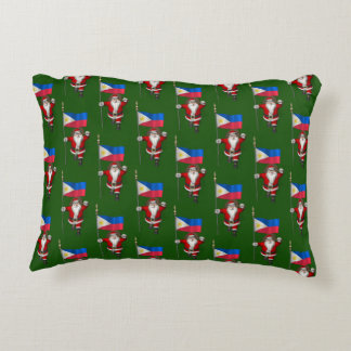 Santa Claus With Ensign Of The Philippines Decorative Pillow