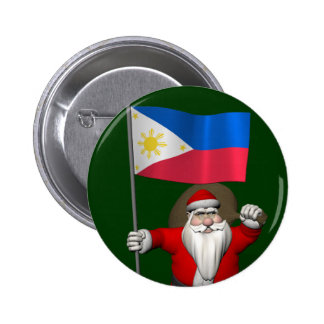 Santa Claus With Ensign Of The Philippines Pinback Button