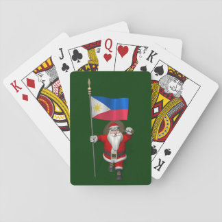 Santa Claus With Ensign Of The Philippines Playing Cards