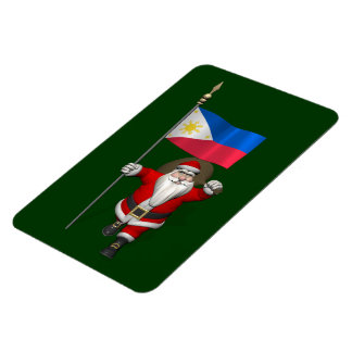 Santa Claus With Ensign Of The Philippines Rectangular Photo Magnet