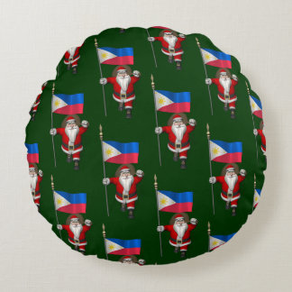 Santa Claus With Ensign Of The Philippines Round Pillow