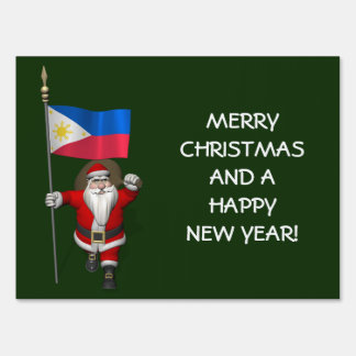 Santa Claus With Ensign Of The Philippines Sign