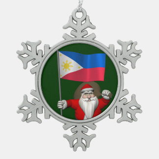 Santa Claus With Ensign Of The Philippines Snowflake Pewter Christmas Ornament