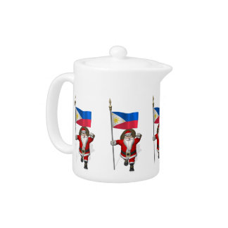 Santa Claus With Ensign Of The Philippines Teapot