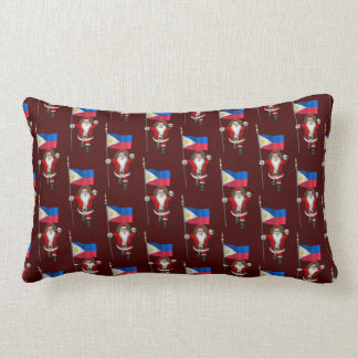 Santa Claus With Ensign Of The Philippines Throw Pillow