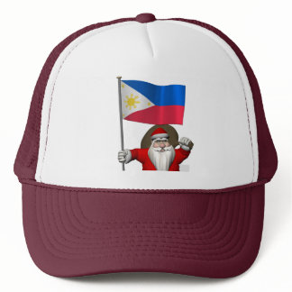 Santa Claus With Ensign Of The Philippines Trucker Hat