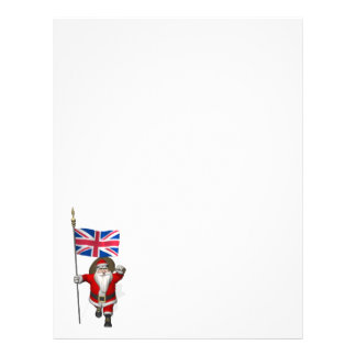 Santa Claus With Ensign Of The UK Letterhead