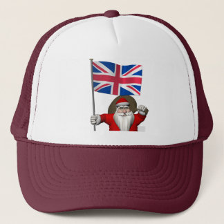 Santa Claus With Ensign Of The UK Trucker Hat
