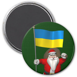 Santa Claus With Ensign Of The Ukraine 3 Inch Round Magnet