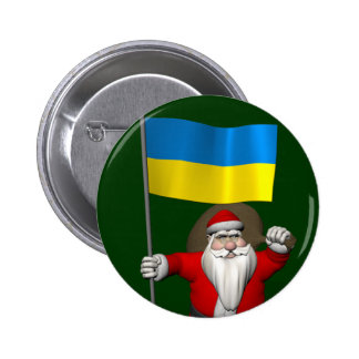 Santa Claus With Ensign Of The Ukraine Button