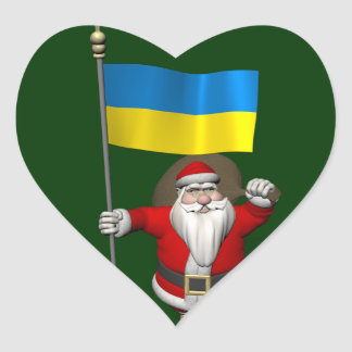 Santa Claus With Ensign Of The Ukraine Heart Sticker