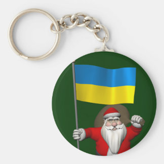 Santa Claus With Ensign Of The Ukraine Keychain