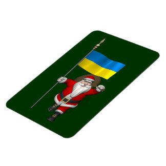 Santa Claus With Ensign Of The Ukraine Magnet