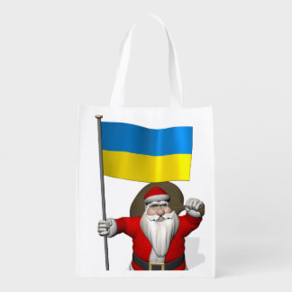 Santa Claus With Ensign Of The Ukraine Market Totes