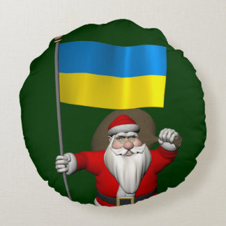 Santa Claus With Ensign Of The Ukraine Round Pillow