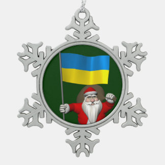 Santa Claus With Ensign Of The Ukraine Snowflake Pewter Christmas Ornament