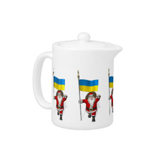 Santa Claus With Ensign Of The Ukraine Teapot