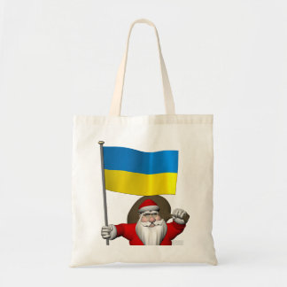 Santa Claus With Ensign Of The Ukraine Tote Bag