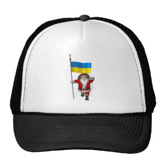 Santa Claus With Ensign Of The Ukraine Trucker Hat