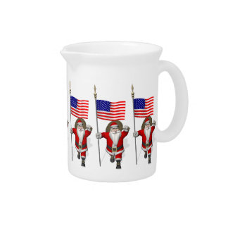 Santa Claus With Ensign Of The USA Beverage Pitcher