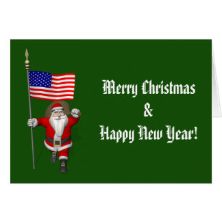 Santa Claus With Ensign Of The USA Card