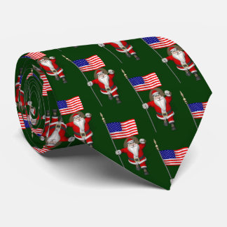 Santa Claus With Ensign Of The USA Neck Tie
