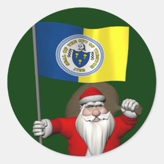 Santa Claus With Ensign Of Trenton NJ Classic Round Sticker