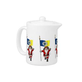 Santa Claus With Ensign Of Trenton NJ Teapot