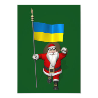 Santa Claus With Ensign Of Ukraine Card