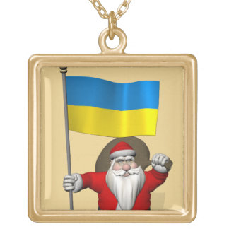 Santa Claus With Ensign Of Ukraine Gold Plated Necklace