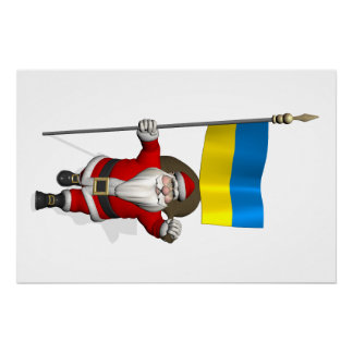 Santa Claus With Ensign Of Ukraine Poster