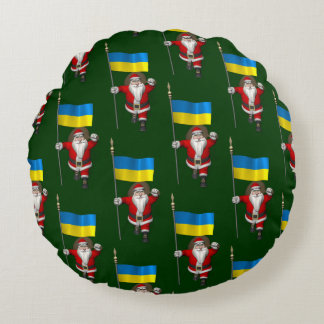 Santa Claus With Ensign Of Ukraine Round Pillow