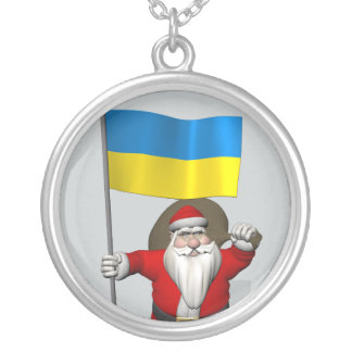 Santa Claus With Ensign Of Ukraine Silver Plated Necklace