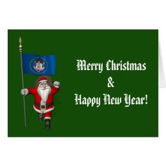 Santa Claus With Ensign Of Utah Card