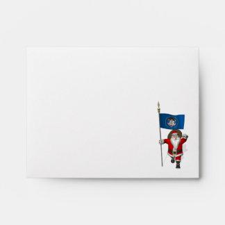Santa Claus With Ensign Of Utah Envelope