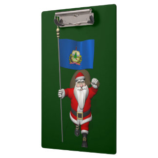 Santa Claus With Ensign Of Vermont Clipboard