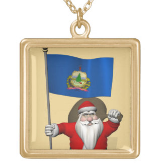 Santa Claus With Ensign Of Vermont Gold Plated Necklace